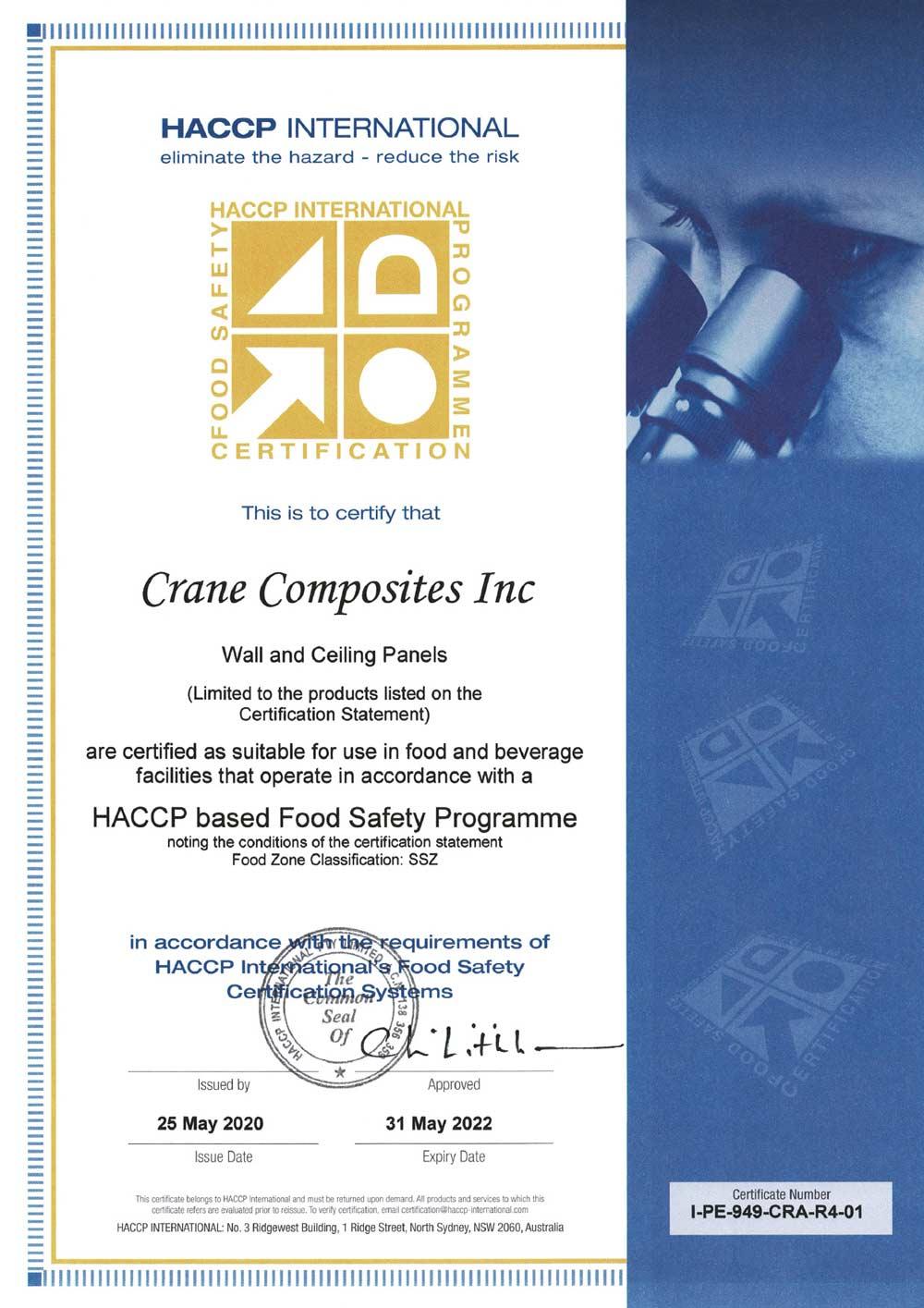 HACCP-Zertifikat für Glasbord® von Hydewa, Crane Composites Inc.