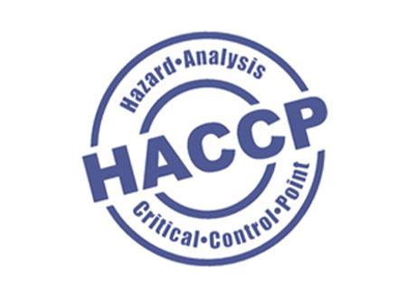 Blaues Logo von HACCP für Glasbord von Hydewa