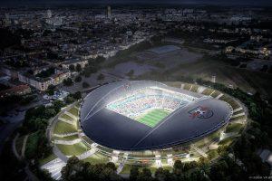 Vogelperspektive des Stadions von RB Leipzig